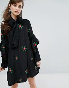 Платье с вышивкой и бантом Sister Jane - Черный