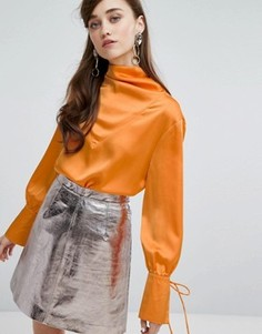 Атласная блузка с драпировкой Sister Jane - Желтый