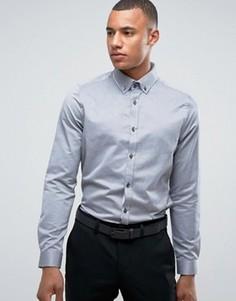 Строгая узкая рубашка с двойным воротником Burton Menswear - Серый