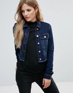 Укороченная джинсовая куртка с необработанным краем Noisy May - Синий