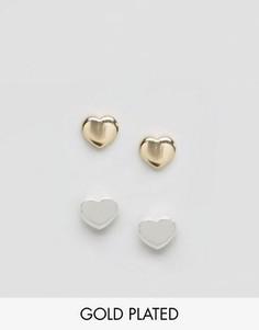 Набор из 2 пар серег с сердечками Orelia - Золотой