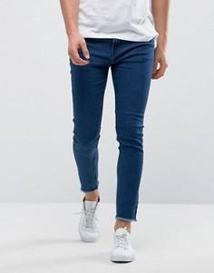 Синие джинсы скинни с необработанными краями Only & Sons - Синий
