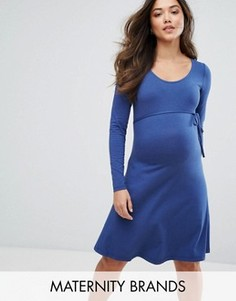 Платье со сборками спереди Mamalicious - Синий Mama.Licious