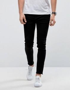 Черные зауженные джинсы с необработанными краями Only & Sons - Черный