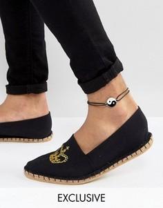 Черный браслет на ногу с подвеской инь-ян Reclaimed Vintage Inspired - Черный