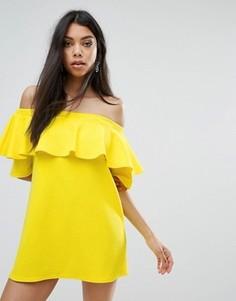 Платье с оборкой Boohoo - Желтый