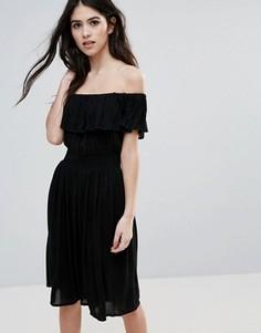 Платье миди с открытыми плечами Brave Soul - Черный