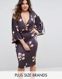 Платье миди с принтом и запахом Club L Plus - Мульти
