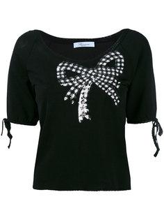 свитер с короткими рукавами и отделкой пайетками  Blumarine