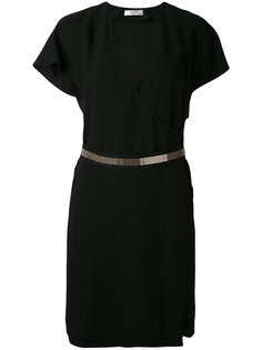 платье с запахом и поясом Lanvin