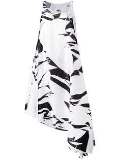 платье с асимметричным подолом и абстрактным принтом Mm6 Maison Margiela