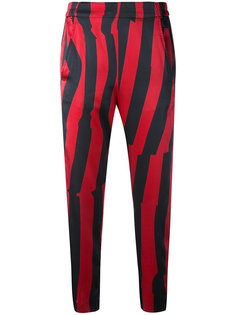 укороченные брюки в полоску Ann Demeulemeester