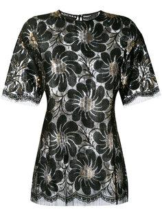 блузка с цветочным принтом металлик  Rochas