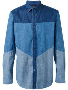 джинсовая рубашка с панельным дизайном Diesel