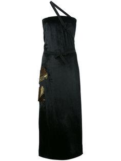 декорированное длинное платье с одной лямкой Attico
