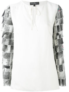 блузка с завязками на рукавах Salvatore Ferragamo