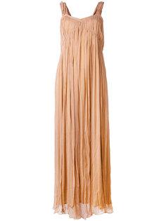 креповое длинное платье с присборенной отделкой  Mes Demoiselles