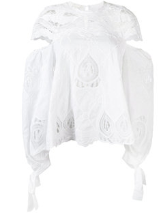 cut out detail embroidered smock blouse Jonathan Simkhai