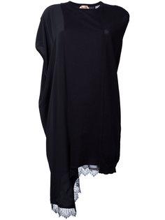 асимметричное платье-майка с кружевом Nº21