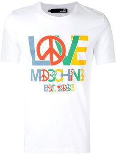 футболка с логотипом и символом мира Love Moschino