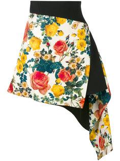 асимметричная юбка с цветочным рисунком Fausto Puglisi