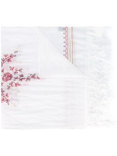 open embroidery fringed scarf Forte Forte