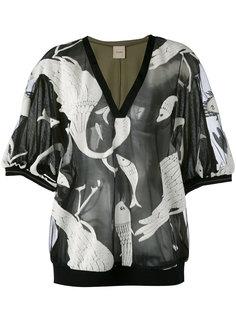 полупрозрачная блузка с изображением животных Nude