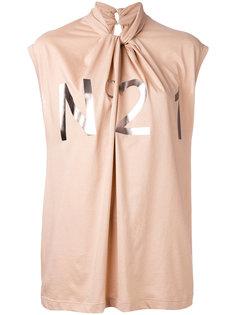 драпированная блузка с логотипом металлик Nº21