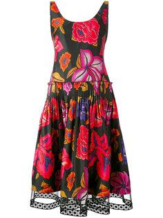 плиссированное платье с цветочным принтом Alberta Ferretti