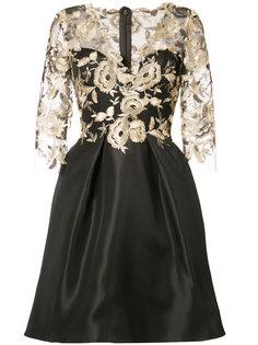 двухслойное платье с цветочным узором Monique Lhuillier