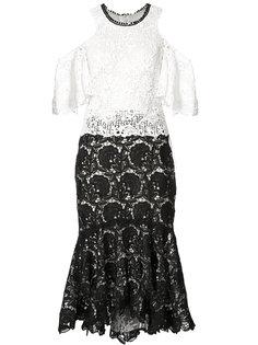 кружевное платье с открытыми плечами Monique Lhuillier