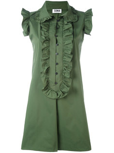 ruffled trim shift dress Sonia By Sonia Rykiel