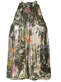 блуза с оборкой на горловине Monique Lhuillier