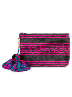 Woven Canvas Pouch with Pompom Tassels Yosuzi