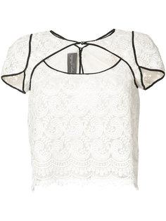 кружевная блуза с резным дизайном Monique Lhuillier
