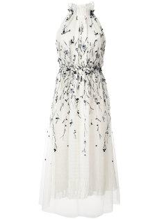 плиссированное платье с декором Monique Lhuillier