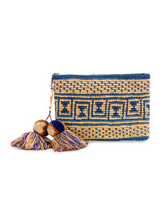 Canvas Woven Pouch with Pompom Tassels Yosuzi