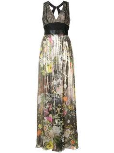 плиссированное платье с цветочным узором Monique Lhuillier