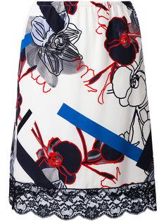 юбка с кружевной отделкой и цветочным принтом Paul & Joe