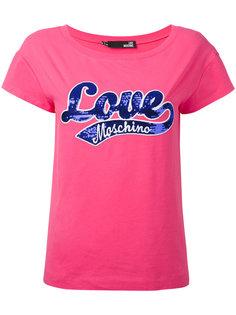 футболка с вышивкой из пайеток Love Moschino