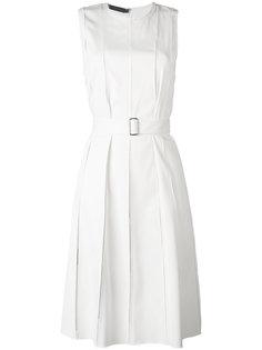 плиссированное платье с поясом Calvin Klein Collection