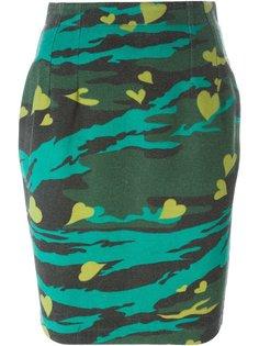 юбка с камуфляжным принтом и сердечками  Jean Paul Gaultier Vintage