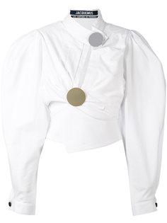 асимметричная блузка с пышными рукавами Jacquemus