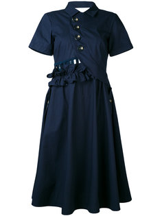 платье-рубашка кроя миди Self-Portrait