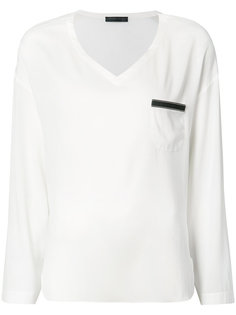 блуза с V-образным вырезом и карманом Fabiana Filippi
