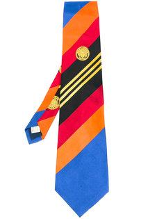 галстук в полоску с логотипом  Versace Vintage