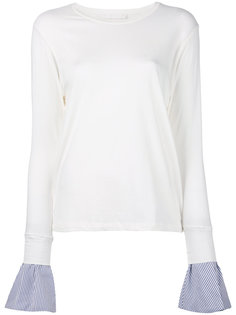 embroidered contrast cuff top  Water