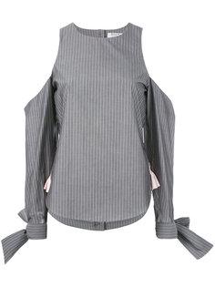 pinstripe cold shoulder blouse Anna K