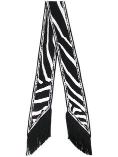 узкий шарф с рисунком под зебру и бахромой Rockins