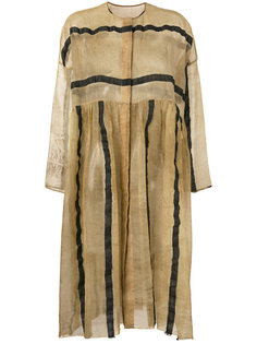 striped sheer collarless coat Uma Wang